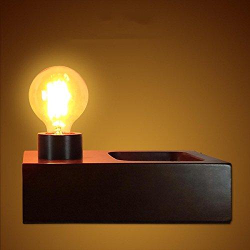 SHDT Neue Nostalgische Holzbasis E27 Edison Glühlampe Tischlampe Holz Schlafzimmer Nachttischlampe Schreibtischlampe Wohnzimmer Wohnkultur