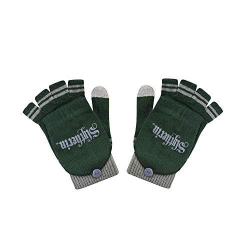 Cinereplicas - Harry Potter -Handschuhe - Abnehmbare Halbhandschuhe -Touchscreen Funktion - Offiziel lizensiert - Slytherin - 190 cm -Grün und Grau