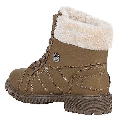 Stiefelparadies Damen Warm Gefütterte Sneakers Sneaker High Winter Schuhe Kunstfell Sportschuhe Turnschuhe Übergrößen Gr. 36-42 Flandell Khaki Amares
