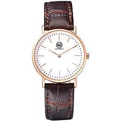 AIBI Waterproof Women's New Rose Gold Bezel Design Quartz Leather Watch