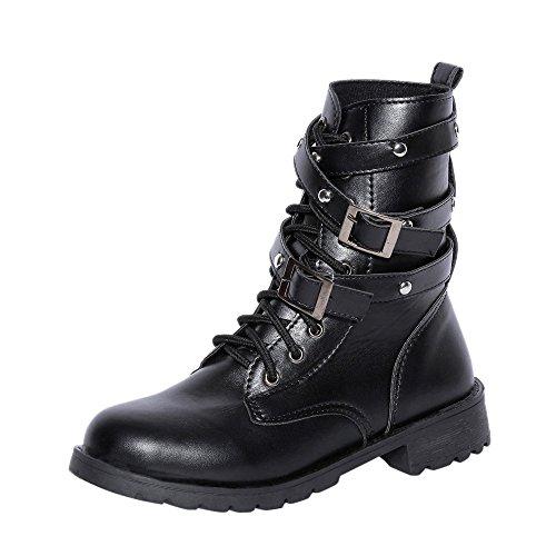 Stiefel Damen, LANSKIRT Damen Schnürstiefel aus Wildleder Stiefeletten Halbschaft Stiefel Plateau Blockabsatz Knöchelhohe Stiefel Boot Sandalen Sneakers Schuhe