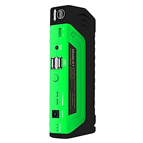 KOBWA 600A Peak 14000mAh Tragbare Auto Starthile Car Jump Starter Battery Booster with Smart Clip, USB Power Bank, Emergency Flashlight and Safety Hammer for Diesel and Gasoline Auto, Sechs Geschenk Pack
