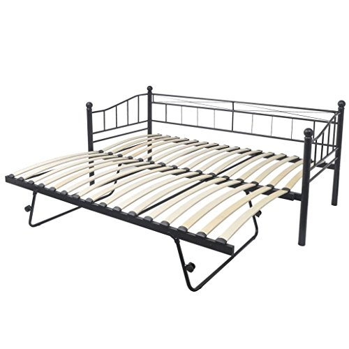 vidaXL Cadre de lit de jour 211x100x95 cm acier noir Lit adulte double 2 places