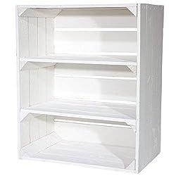 Neue, weiß lasierte Kisten mit 2 Zwischenböden. Die Kisten haben Wandstärken von fast 1 cm und sind somit stabil für Bücherregale, Wandborde und Schuregale. Spezifikationen: Holz, weiß lasiertDas Leergewicht liegt bei ca. 4kg. Kiste ohne Deko. Starke...