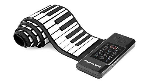 Funkey RP-88A Rollpiano (88 Tasten, Aufnahmefunktion, MIDI, 128 Sounds, 128 Rhythmen, 14 Demo Songs, Li-Ionen Akku, inkl. Netzteil und Sustain-Pedal) Schwarz