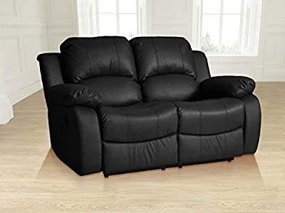 Lovesofas Valencia 2 seater bonded leather recliner sofa - Black from Love Sofas