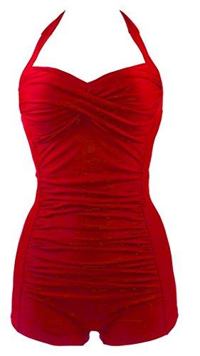 FemPool Damen Badeanzug Gr. X-Small, Rot - Rot (Wrap Cardigan Band)