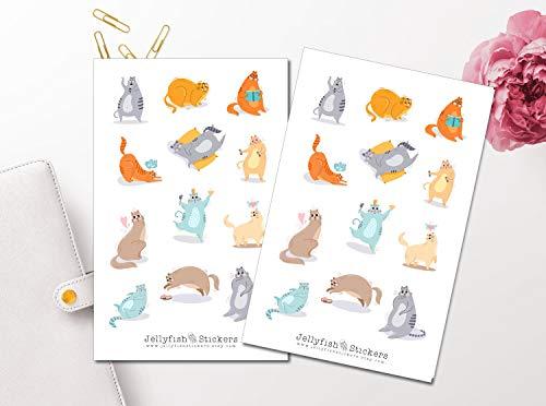 Cartoon Katzen Sticker Set | Niedliche Aufkleber | Journal Sticker | Sticker Haustiere | Planersticker | Sticker Freizeit -