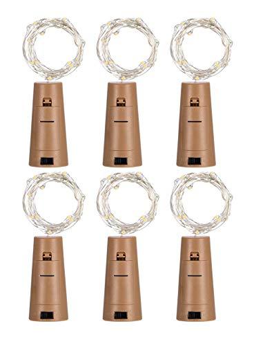 Preisvergleich Produktbild Richdeer 6 Pack Flasche Lichter Korkförmigen 20 LEDs Micro Lichterkette für Party Geburtstag Hochzeit Haus Tischdekoration,  Warmes Weiß,  1M