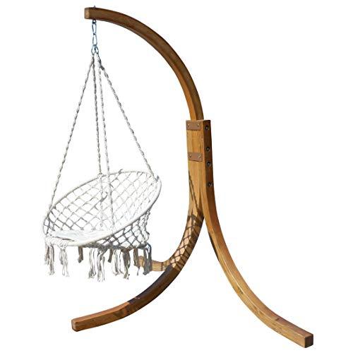 AS-S Design Chaise Suspendu NAV-Cruz avec Support en mélèze de Bois et Coussin de