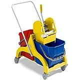 Carro doble bañera Nick Amarillo LT. 50con mango + strizzatore–TTS 6085Cubo Lava suelos profesional industrial