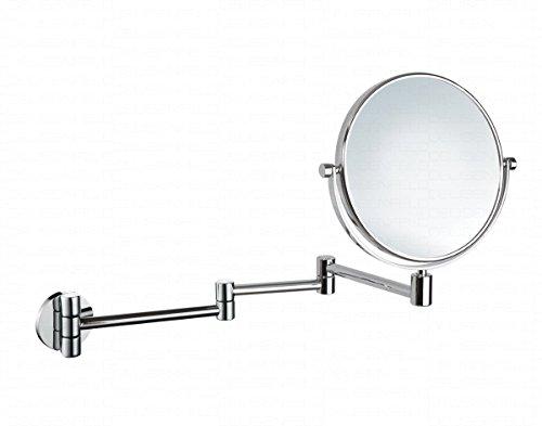 DEUSENFELD K723C - Doppel Wand Kosmetikspiegel, Rasierspiegel, Schminkspiegel, 3-Armig, 7X Vergrößerung + Normalspiegel, Ø20cm, 360° vertikal und horizontal schwenkbar, 50cm ausklappbar, MS verchromt