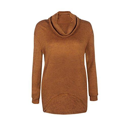 Monissy Femme Pull Casuel Col Roulé Asymétrique Automne Fashion Longues Manches Simple Blouse Top Brun