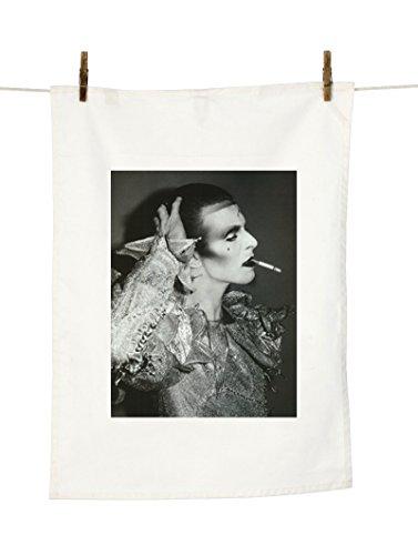 David Bowie Deko-Geschirrtuch, Schwarz-Weiß-Motiv Zigarette, naturfarben