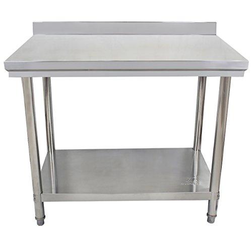 Beeketal 'BA-Serie' Gastronomie Edelstahl Arbeitstisch 100-200 cm, Tische bis 170 kg belastbar (verstärkte Ausführung), Profi Gastro Küchentisch mit justierbaren Stellfüßen