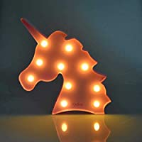 LED Unicorn Night Light,Unicorn Shaped Table Marquene Animal Night Light Battery Operated for Indoor Decor Bedroom Living Room Kids Girls Room Party Wedding Christmas Birthday Gift(Warm White)