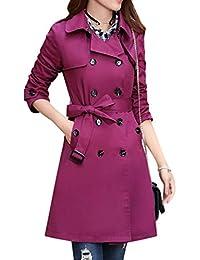 Zengbang Mujer Chaquetas Casuales de Doble Botonadura Manga Larga Abrigo de Gabardina con Cinturón