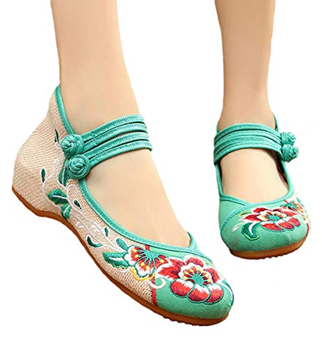 Chinese Women Embroidered Flats Canvas Walking Shoes Traditional Low to Help Old Beijing Cloth ()