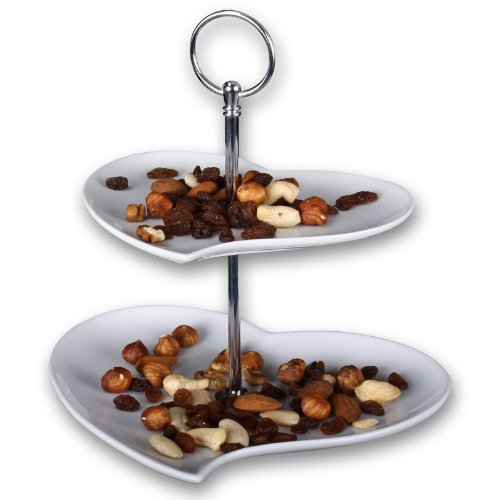 """Edle 2-stöckige Etagere Herz Modell \""""Two Hearts\"""" aus Porzellan - Servierständer in Herzform - Gebäckschale - Servierplatte - Servierteller - Dessertteller"""