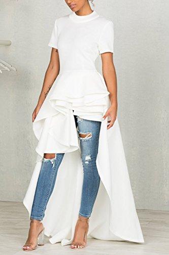 YACUN Le Donne A Maniche Corte Alto Basso Camicia Elegante Stasera White