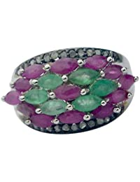 0.24 Cts Diamond Ring 925 Sterling Silver Ruby & Emerald Ring Size 7
