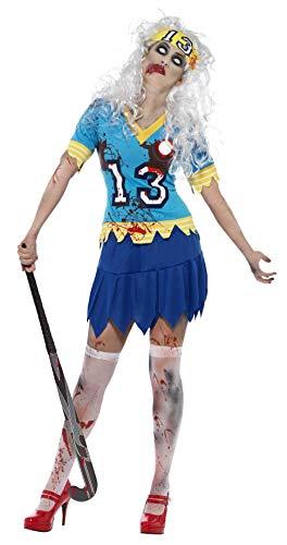 Smiffys, Damen Zombie-Hockey Spieler Kostüm, Oberteil, Rock und Haarband, Größe: S, ()