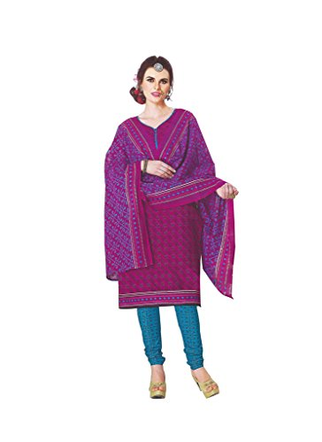 Aavya Pure Cotton Magenta Colour Printed Salwar Suit with Dupatta
