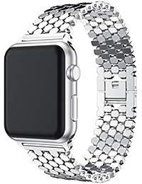 Besow iwatch Apple Watch 38MM Correa de Reloj de Pulsera de Acero Inoxidable Correa de Reloj Inteligente Gadgets electr¨®nicos Reloj…