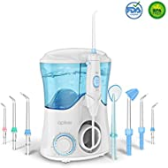Water Flosser with 8 Multifunctional Tips, Apiker Oral Irrigator Family Dental Water Jet Flosser for Teeth Braces, 10 Pressure Setting and 600ml High Capacity