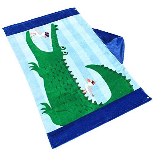 VORCOOL Kapuzenhandtuch Strandmantel Kinder Kinder Großes Badetuch mit Kapuze Badehandtuch Bademantel Schnell Trocknend (Krokodil und Möwe)