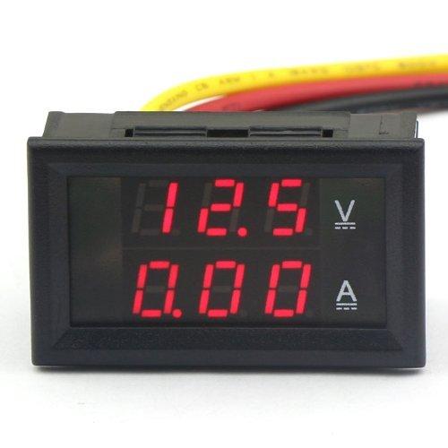 DROK® Digitale voltmetro tester di tensione di corrente DC 4.5-30V / 10A 12V / 24V LED rosso Pannello Volt Amp Tester per batterie auto per Moto Ebike Automotive Dual Display Pocket Pro Mini elettrica Linea rilevatore di tensione