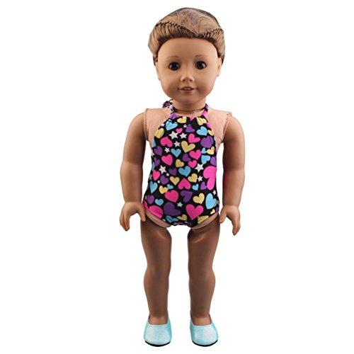 HKFV Mode handgefertigte Kleidung Bademode Badeanzug für 18 Zoll American Girl Puppe Geschenk Farbe 18-Zoll-American Girl Mode gemischten Badeanzug Swimsuit Doll (American Girl Puppe Grace Kleider)
