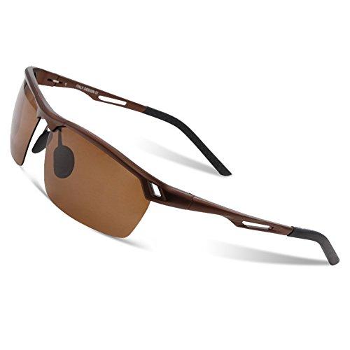 DUCO Radsportbrille Outdoor Sonnenbrille für Sportler polarisierte 5 austauschbare Gläser UV400 0025 (Braun/Braun)