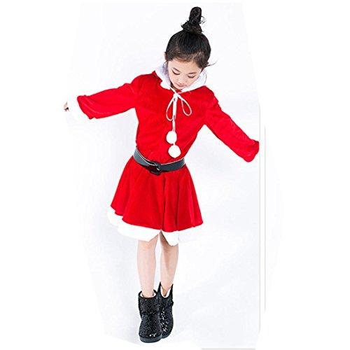 Kobay Weihnachten Kleinkind Baby Mädchen Weihnachten Cosplay Kapuzen Kleid mit Gürtel Outfit Kostüm (Rot, 6 ()