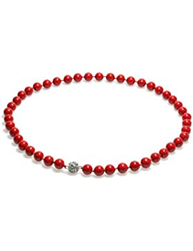 Schmuckwilly Muschelkernperlen Perlenkette Perlen Collier - Muschelkernperlenkette Halskette rot Hochwertige Damen...