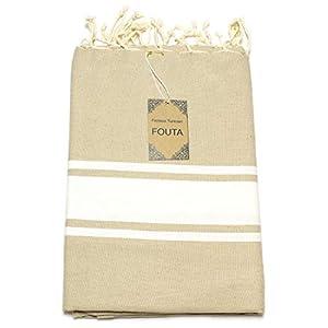 ANNA ANIQ Premium Fouta Hamamtuch Sauna-Tuch XXL Extra Groß 100x200 cm - 100% Baumwolle aus Tunesien als Strand-Tuch, orientalisches Bade-Tuch, Picknick, Yoga, Schal, Pestemal (Beige)