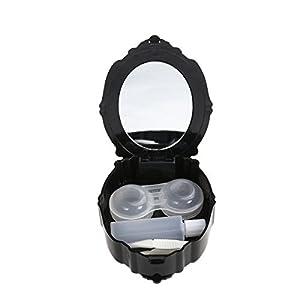 ROSENICE Kontaktlinsenbehälter Rose Design Kontaktlinsen Aufbewahrungsbox mit Spiegel für Zuhause und Reisen (Schwarz)