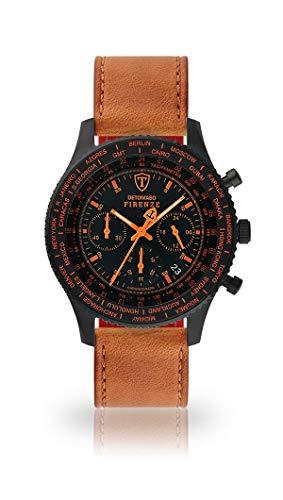 DETOMASO FIRENZE Uomo Orologio Cronografo Analogico Cinturino in pelle marrone quarzo quadrante nero SL1624C-BO-821