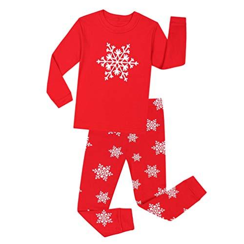 YuanDian Jungen Mädchen Weihnachten Schlafanzug 2 Stück Set Cartoon Drucken Nacht Beleuchten Nachtwäsche Langarm Kinder Weihnachtskostüm Pyjama Outfits 80-140 Rot 4 Jahre
