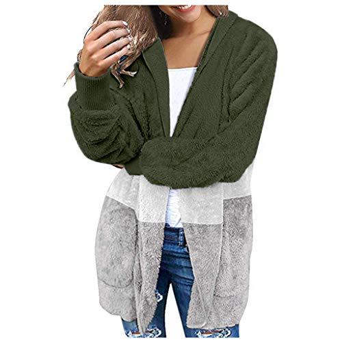 BOLANQ Warmer Plüsch Strickmantel Mit Kapuze, Frauen übergroße offene Front mit Kapuze drapierte Taschen Strickjacke Mantel(X-Large,C-Armeegrün)