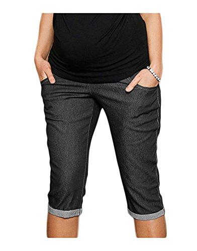 Mija - Capri Denim Maternidad pantalones vaqueros cosechados cortos 9046 (EU 46, Negro)