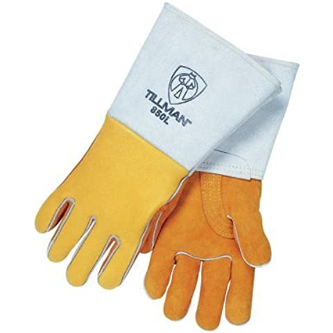 Tillman Large Gold 14 Top Grain Elk Cotton/Foam Lined Welders Gloves With Straight Thumb, Stiff Cowhide Cuff, Welted Fingers, Kevlar(R) Stitching And Pull Tab (Carded). Sold by 1 / PR by John Tillman and