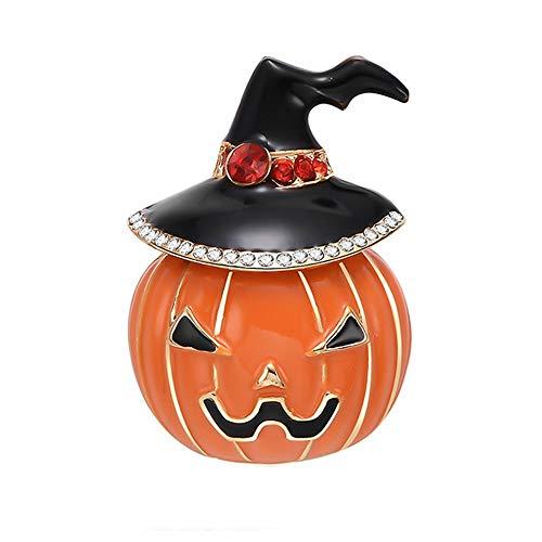 Tasquite Kreativ Halloween-Brosche Pins Kürbislaterne Kunsthandwerk Halloween-Kürbis Mit Hexenhut Halloween Schmuck Geschenk für Frauendame