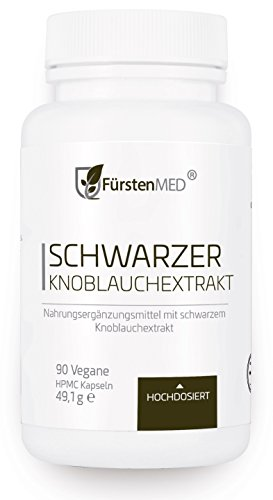 FürstenMED® Fermentierter Schwarzer Knoblauch Extrakt - 90 Geruchlose Kapseln - Vegan - Immunsystem, Herz Kreislauf & Gesundheit