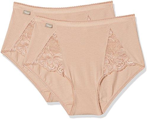 Playtex Cherish Cotton & Lace Midi X2 Braguita, Beige (Natural), ((Tamaño  del Fabricante:L) para Mujer