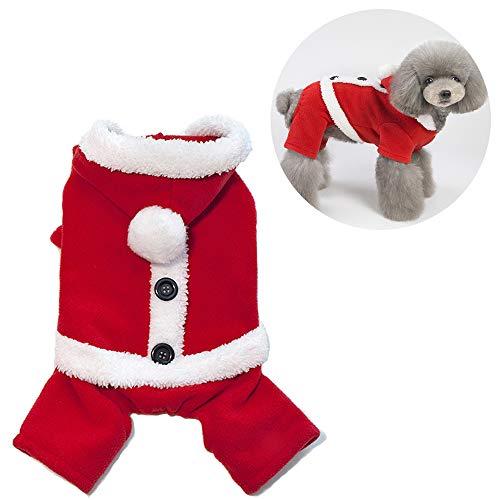 JLCYYSS Weihnachten Haustier Kleidung, Haustier Katze Hund Kleidung Weihnachten Weihnachtsmann Kostüm Hoodie Samt Mantel Overall Kleine Männliche Hund - Männlichen Hunde Kostüm