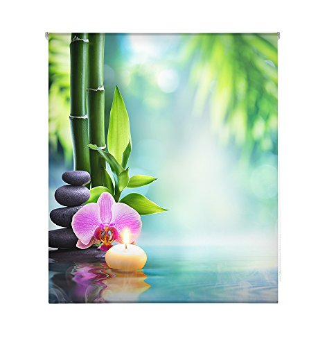 HappyStor HSCZ8223 Estor Enrollable Estampado Digital Zen Tejido Traslúcido Medida Total Estor:200x180 (**Solo Ancho Tela:196-197cm.**)