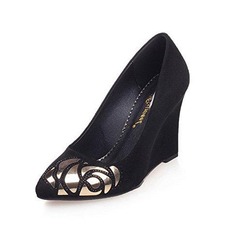 Wedges Braune Riemchen (AllhqFashion Damen Spitz Zehe Hoher Absatz Gemischte Farbe Ziehen auf Pumps Schuhe, Schwarz, 34)
