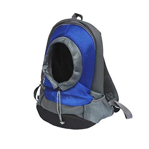 YINWANGMIAO Breathable Doppelter Schulter-Hundehaustier-Welpen-Taschen, Haustier-Fördermaschinen-Rucksack-Hundegeschenktasche, Haustier-Vordere Fördermaschinen-Maschen-Rucksack-Kopf,Blue,S -