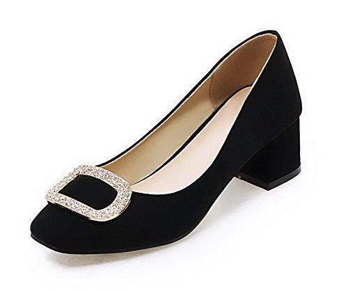 VogueZone009 Femme Suédé Couleur Unie Tire Carré à Talon Correct Chaussures Légeres Noir